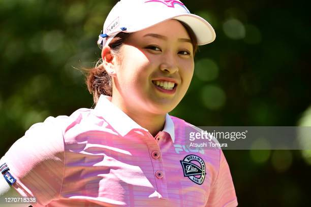 Mao Saigo of Japan smiles after her tee shot on the 7th hole during the second round of the GOLF5 Ladies Tournament at the GOLF5 Country Mizunami...