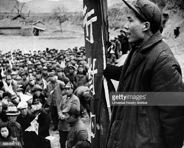 Mao Tse Tung leader of China's Communists addresses followers at Yenan during the long March 1937