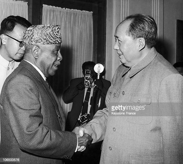 Mao Tse Tung With Sudan President Ibrahim Abboud In Beijing