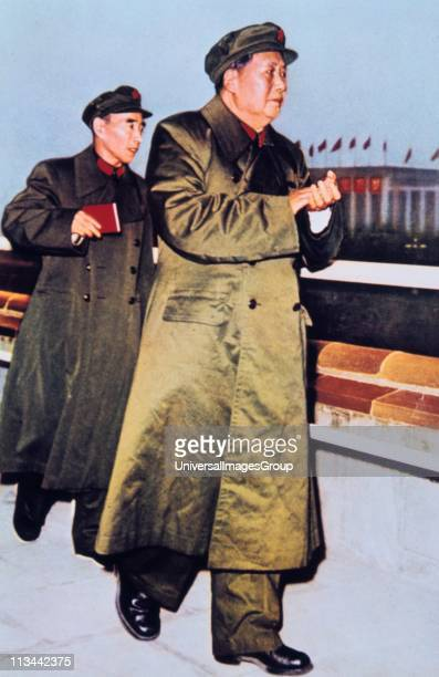 Mao TseTung 18931976 18931976 Chinese Communist leader centre followed by LIN BIAO Chinese soldier and politician holding the Little Red Book
