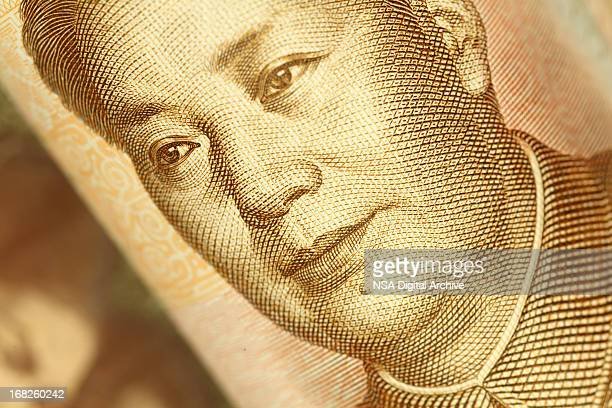 mao tse-tung portrait on chinese yuan banknote |finance and business - mao tsé toung stockfoto's en -beelden