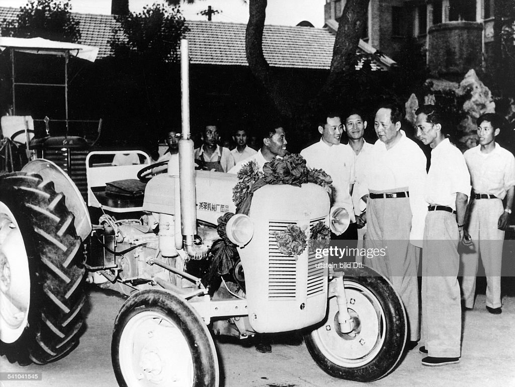 Mao Ze Dong *26.12.1893-+ Politician; Chairman of the Communist Party of China; People's Republic of China Mao (3rd from r) visiting a tractor factory in Beijing - 1958