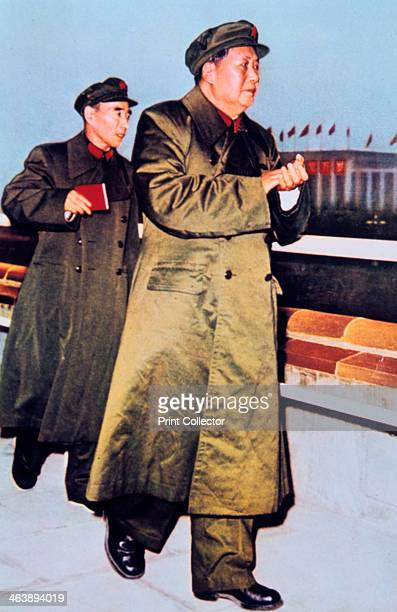 Mao Zedong and Lin Biao China c1966 Mao Chinese Communist leader followed by Lin Biao Chinese military and political leader who is holding a copy of...