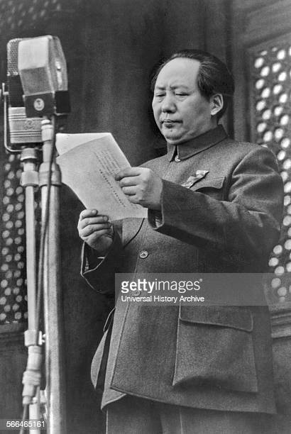 Mao Zedong , Chinese Communist revolutionary proclaiming the founding of the People's Republic of China, 1949.