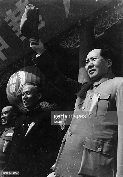 Mao Zedong with Liu Shao Chi on the first anniversary of the founding of the People's Republic of China October 1 1950