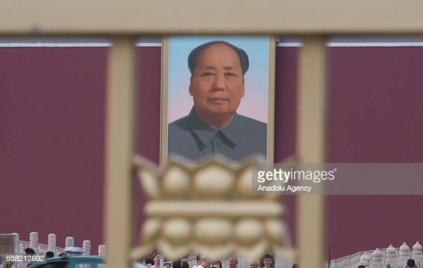 Mao Zedong's oil painting being displayed at the Tiananmen square China's symbolic political heart prior to the 27th anniversary of what some people...