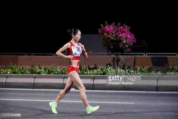 Maocuo Li of China competes in the Women's 50 Kilometres Race Walk final on day two of 17th IAAF World Athletics Championships Doha 2019 in the early...