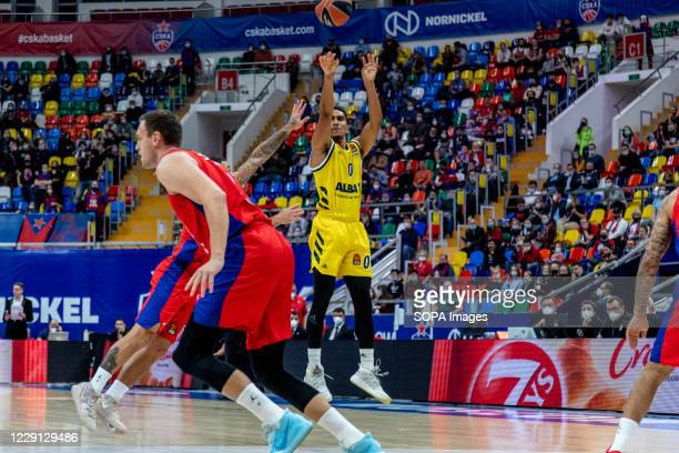 Maodo Lo #0 of Alba Berlin in action against CSKA Moscow during the Turkish Airlines EuroLeague Round 4 of 20202021 season at the Megasport Arena...