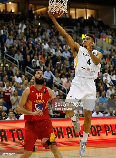 Maodo Lo of Germany drives to the basket against Nikola Mirotic of Spain during the FIBA EuroBasket 2015 Group B basketball match between Germany and...