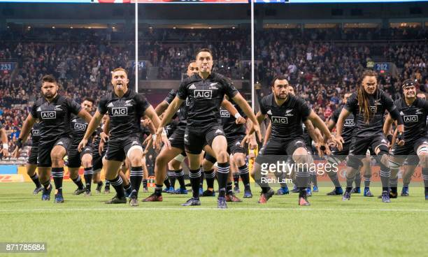 Maori All Blacks perform the Haka prior to an international rugby friendly match against Canada at BC Place on November 3, 2017 in Vancouver, Canada.