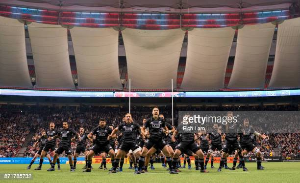 Maori All Blacks perform the Haka prior to an international rugby friendly match against Canada at BC Place on November 3 2017 in Vancouver Canada