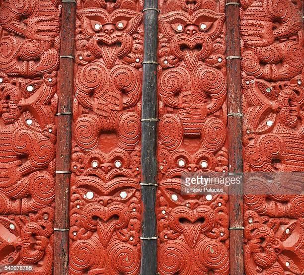 Maori art carved in wood at Te Puia