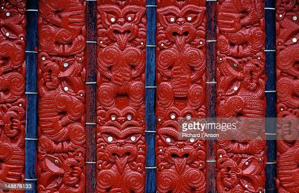 Maori carving at Te Whakarewarewa thermal reserve & Maori cultural area.