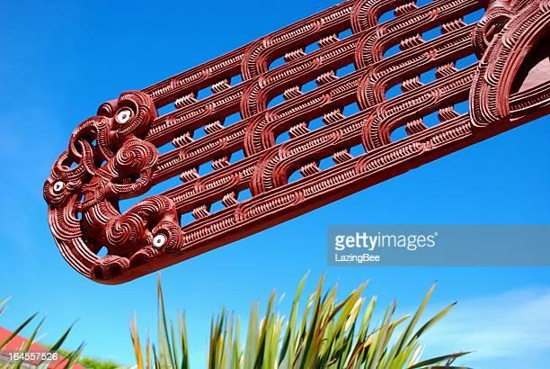 Maori Carving, Harakeke & Sky