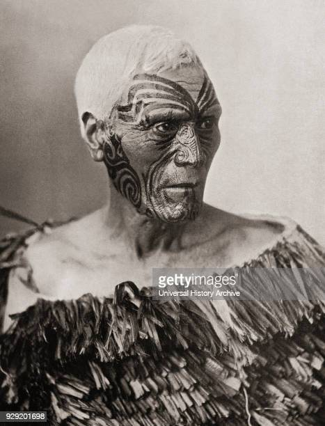 A Maori Chief from New Zealand The tattoo on his face is not quite complete but the grooves in the skin produced by the peculiar method of Maori...
