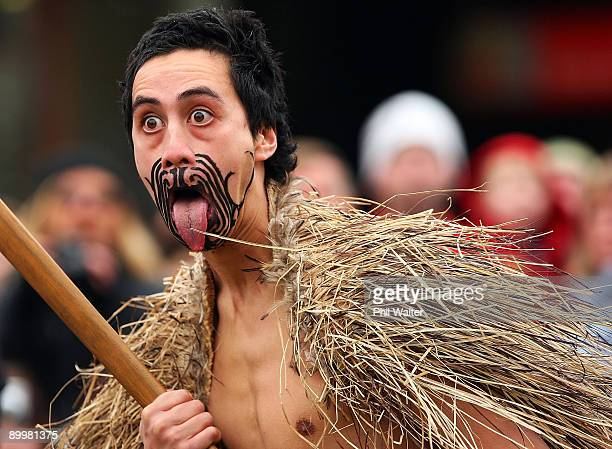 Maori chief welcomes the athletes to the Opening Ceremony for the Winter Games NZ at Earnslaw Park on August 21 2009 in Queenstown New Zealand