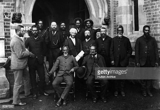 Maori chiefs in European clothes during a visit to the Supreme Court in Auckland in 1886 to discuss the development of their people