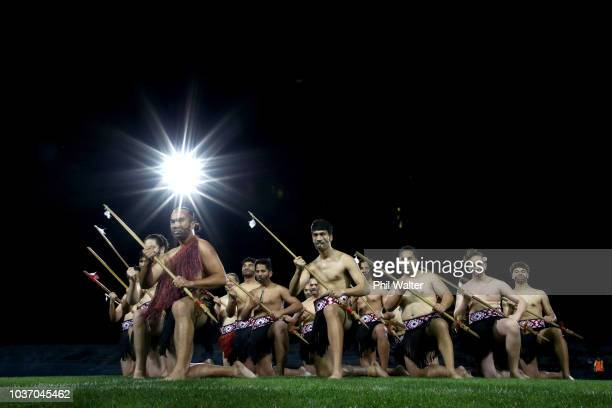 A maori cultural group performs before the round six Mitre 10 Cup match between Bay of Plenty and Waikato at Rotorua International Stadium on...