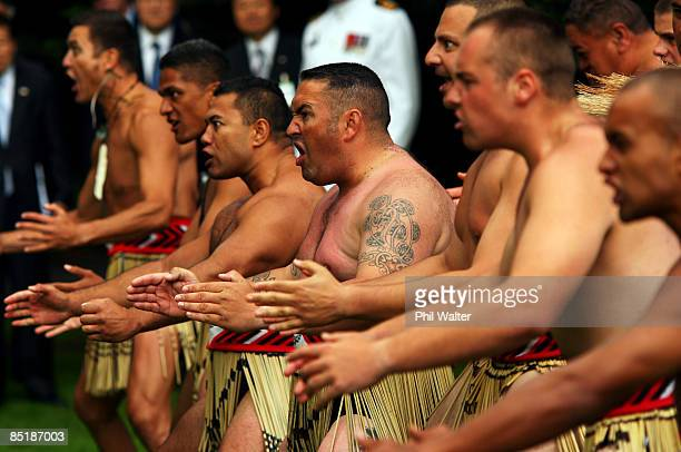 Maori cultural group welcomes the President of the Republic of Korea Lee Myungbak onto the grounds of Government House during the Powhiri a Maori...