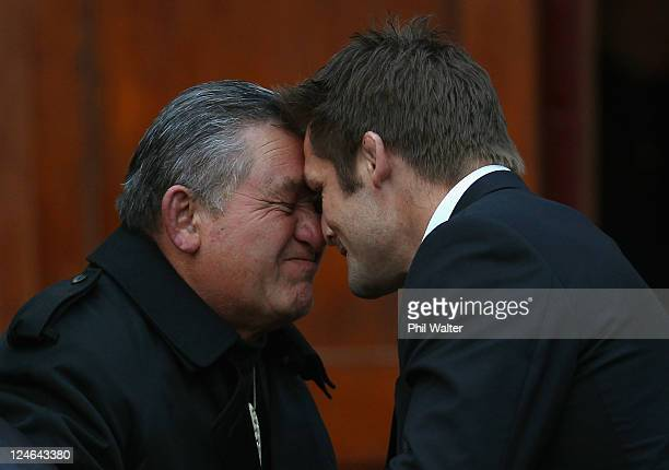 Maori King Tuheitia Paki shares a traditional Maori gretting of a Hongi with All Black captain Richie McCaw during a New Zealand All Blacks IRB Rugby...