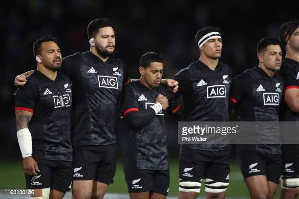 Maori line up for the anthem during the second test match between the Maori All Blacks and Fiji at Rotorua International Stadium on July 20, 2019 in...