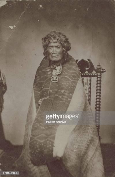 A Maori man in traditional dress New Zealand circa 1880