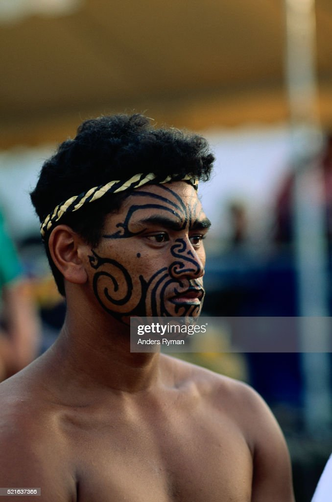 Maori Man: Maori Man With Painted Facial Tattoo Stock Photo