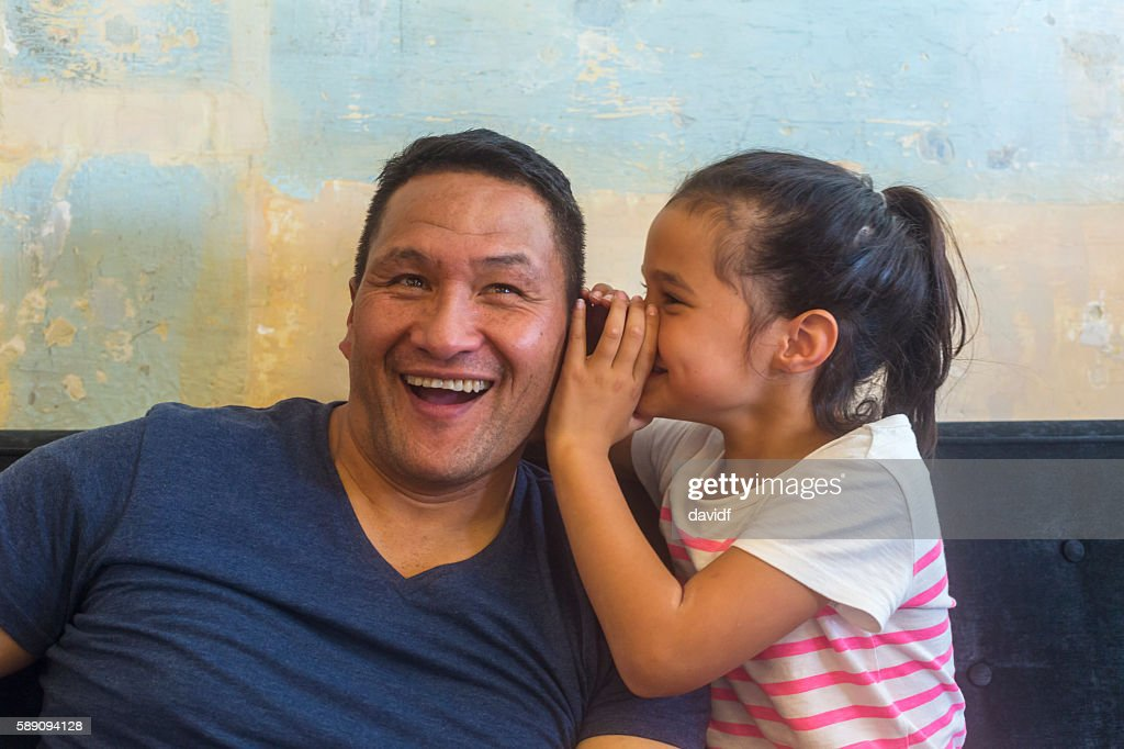 Maori Pacific Islander Father and Daughter Family Having Fun Together : Stock Photo