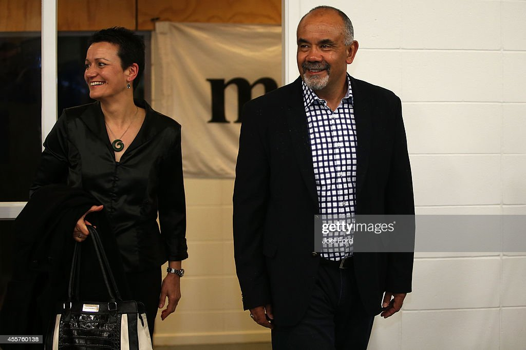 Maori Party co-leader Te Ururoa Flavell (R) arrives at Waiteti Marae with wife Erana Hond-Flavell on September 20, 2014 in Rotorua, New Zealand. Voters head to the polls today to elect the 51st Parliament of New Zealand.