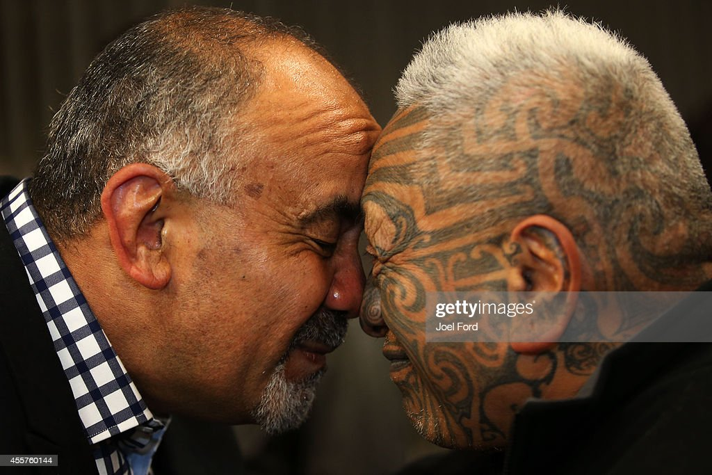 Maori Party co-leader Te Ururoa Flavell is greeted by Tame Iti at Waiteti Marae on September 20, 2014 in Rotorua, New Zealand. Voters head to the polls today to elect the 51st Parliament of New Zealand.