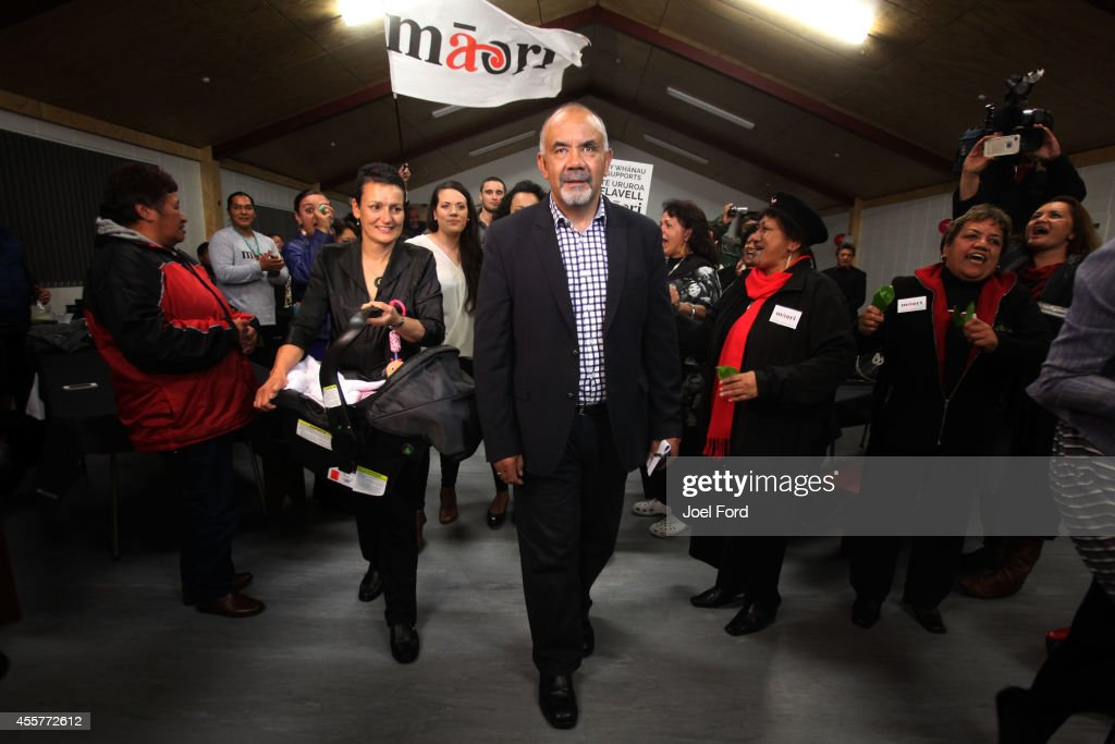 Maori Party co-leader Te Ururoa Flavell with wife Erana Hond-Flavell is greeted by supporters at Waiteti Marae after winning the Waiariki electorate on September 20, 2014 in Rotorua, New Zealand. National Party leader John Key has been re-elected as the 39th Prime Minister of New Zealand after defeating Labour opposition leader David Cunliffe in today's New Zealand election.