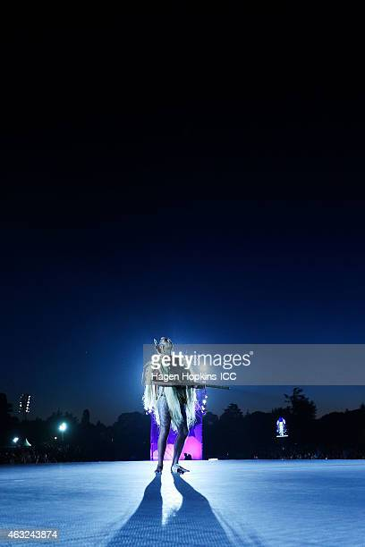 A maori performer entertains during the Opening Ceremony ahead of the ICC 2015 Cricket World Cup at Hagley Park on February 12 2015 in Christchurch...