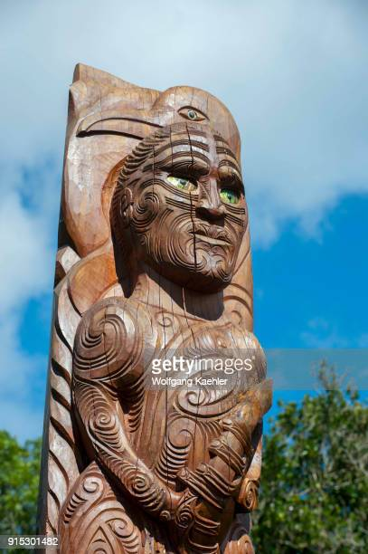 Maori pole at the historic Meretoto in Queen Charlotte Sound in the Marlborough Sounds of the South Island which was Captain James Cooks favorite New...