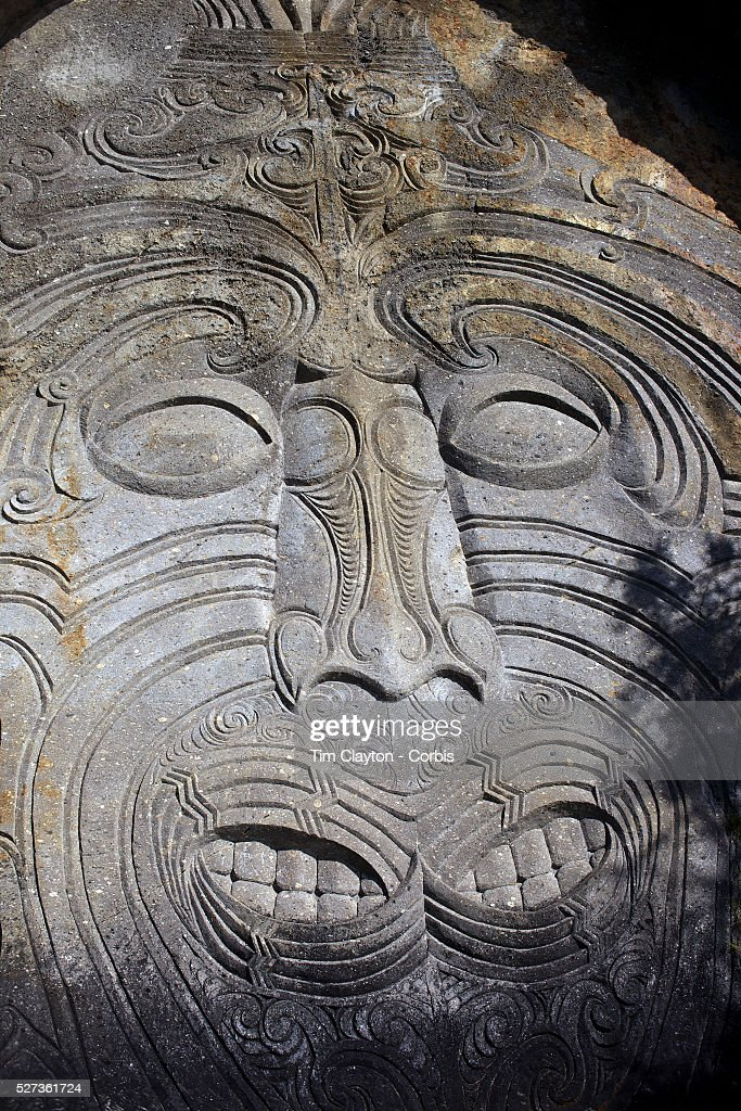 Maori rock carvings at mine bay lake taupo the maori rock