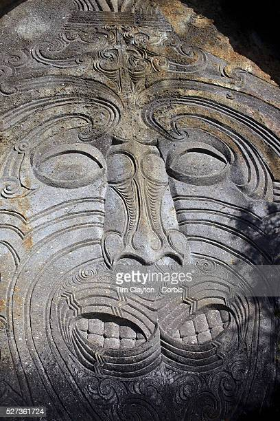 Maori rock carvings at Mine Bay Lake Taupo The Maori rock carvings are over 10 metres high and are only accessible by boat The carving has become an...