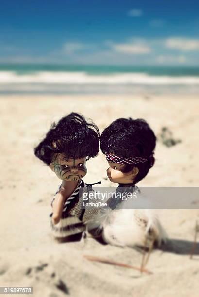 Maori Souvenir Dolls on Beach, New Zealand