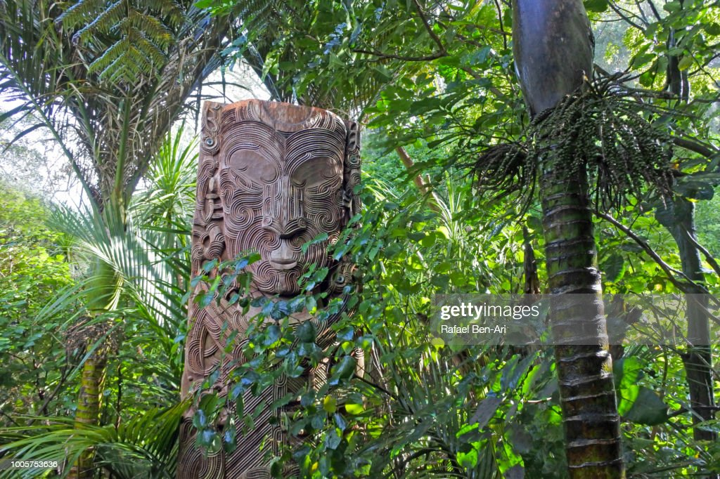Maori Totem in Parkland in Auckland City New Zealand : Stock Photo