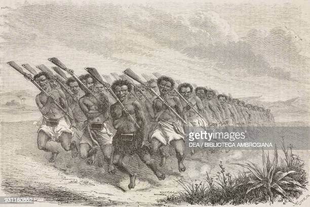 Maori war dance from Travel in New Zealand by Ferdinand von Hochstetter drawing by Emile Bayard from Il Giro del mondo Journal of geography travel...