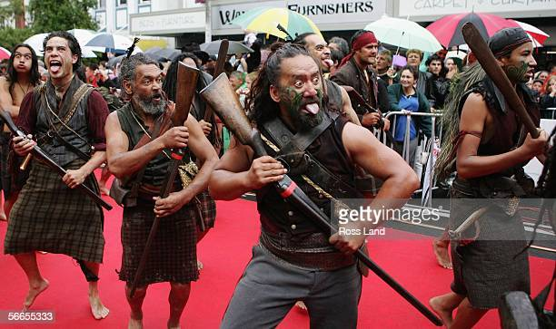 Maori warrior actors from the movie 'The River Run' perform a Haka on the red carpet at the premiere of The River Queen January 24 2006 in Wanganui...