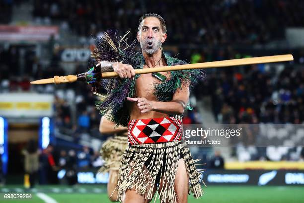 Maori Warrior brings the match Taiaha to the field ahead of the match between the Highlanders and the British Irish Lions at Forsyth Barr Stadium on...