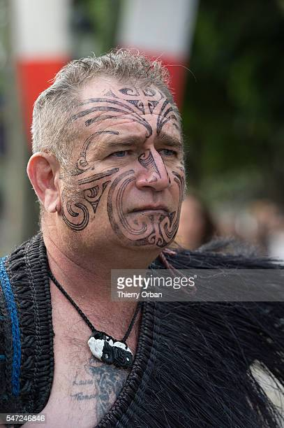 Maori warrior from New Zealand on Champs Elysees for Bastille Day military parade in Paris on July 14 2016in Paris France