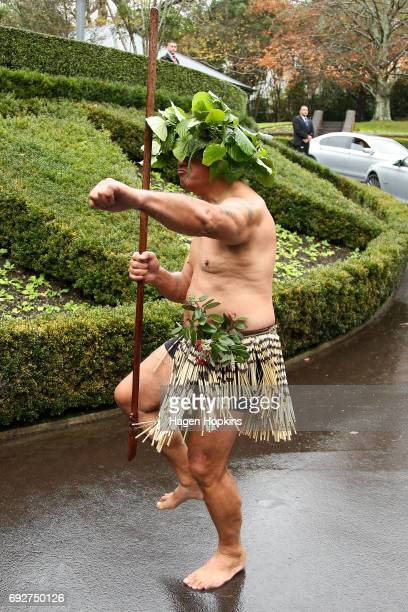 A maori warrior greets Secretary of State Rex Tillerson with a traditional Maori powhiri ahead of a meeting with Prime Minister Bill English at...