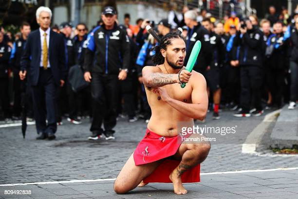 Maori warrior lays down a challenge ahead of the Team New Zealand Americas Cup Welcome Home Parade on July 6 2017 in Auckland New Zealand