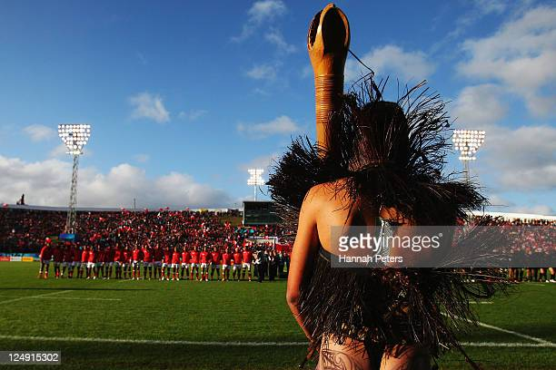 Maori warrior looks on as the teams line up ahead of the IRB 2011 Rugby World Cup Pool A match between Tonga and Canada at Northland Events Centre on...