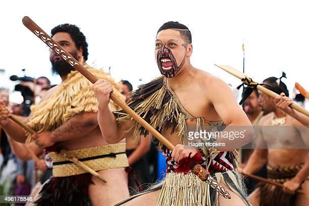 Maori warrior performs a haka during a visit to Turangawaewae Marae on November 8 2015 in Ngaruawahia New Zealand The Royal couple are on a 12day...