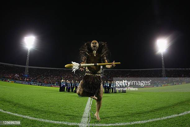 Maori warrior performs aheaf of the IRB 2011 Rugby World Cup Pool A match between Tonga and Japan at Northland Events Centre on September 21 2011 in...