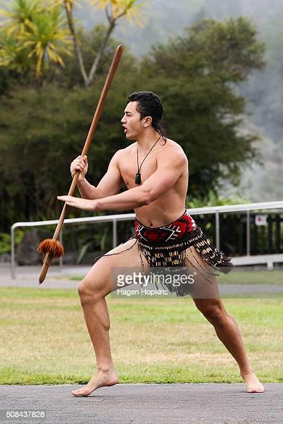 Maori warrior performs as part of a powhiri during the official race welcome for the Tarawera Ultramarathon at Te Aronui a Rua Marae on February 5...