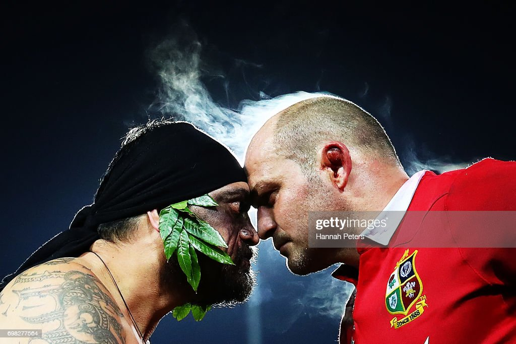 A Maori warrior presents the match Taiaha to Rory Best of the Lions after the match between the Chiefs and the British & Irish Lions at Waikato Stadium on June 20, 2017 in Hamilton, New Zealand.