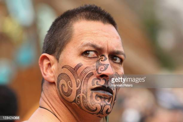 Maori warrior waits for the official IRB Rugby World Cup 2011 New Zealand All Blacks team welcome ceremony at Aotea Square on September 3 2011 in...