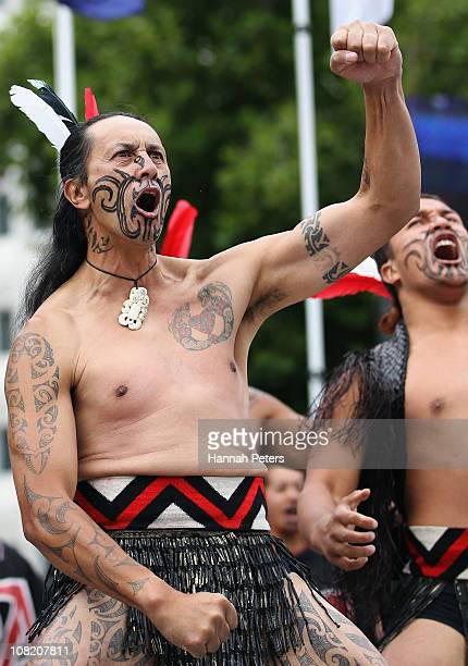 Maori warrior welcomes athletes at the Opening Ceremony of the IPC World Athletics Championships on January 21 2011 in Christchurch New Zealand
